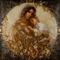 Mother Mary and Jesus, Madonna A. Divine Mother, Blessed Mother Mary, Blessed Virgin Mary, Religious Pictures, Religious Icons, Religious Art, Religion, Images Of Mary, Mama Mary