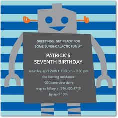 Birthday Party Invitations Happy Robot - Front : Capri Blue