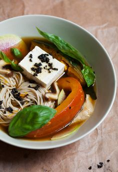 Simmered winter squash soba soup