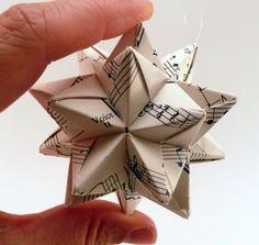 Music Ornaments, Origami Ornaments, Star Ornament, Handmade Ornaments, Diy Christmas Ornaments, Etsy Christmas, Origami Paper, Diy Paper, Paper Crafts