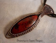 Mary Ellen Jasper wrapped in copper, black leather necklace with chain and hook ends Wire Necklace, Wire Wrapped Necklace, Wire Earrings, Wire Wrapped Pendant, Leather Necklace, Wire Pendant, Pendant Jewelry, Bijoux Wire Wrap, Wire Crochet