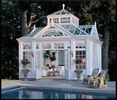 This will be the pool house for my dream home! This will be the pool house for my dream home! This will be the pool house for my dream home! Outdoor Gazebos, Outdoor Rooms, Outdoor Living, Outdoor Retreat, Indoor Outdoor, Victorian Conservatory, Glass Conservatory, Conservatory Design, Victorian Farmhouse
