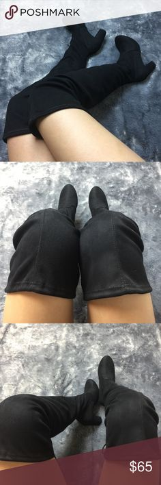 """Suede Over The Knee Boots New with box Boutique brand True to size Heel:3 1/2"""" Collar drawstring Pull on construction Faux suede material Feel free to ask me any questions Thanks for browsing my closet! Shoes Over the Knee Boots"""