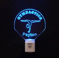 """#Kids Personalized #Gymnast Custom LED Night Light -  Unique #LED Products   ♦Made with 3/8"""" Acrylic Plexiglass ♦3D Engraved"""