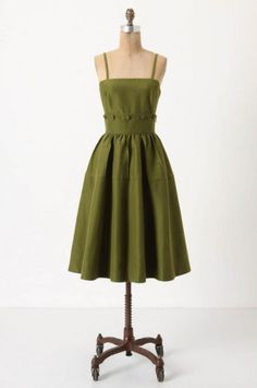 Anthropologie by Maeve Button Belted Green Dress