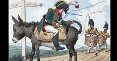 This satirical engraving from 1814 mocks the Emperor. His sword is broken and he sits backward on a donkey, riding toward exile on Elba and away from Fontainebleau.