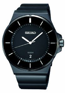 Seiko Casual Black Dial Black Polyurethane Mens Watch SGEG21 Seiko. $148.99. Black ion-finish stainless steel bracelet. Black dial with gray highlights, stick indices, three hands and date window. Three-year limited warranty. Save 50%!