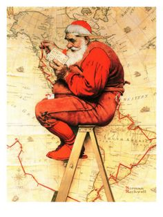 """Santa at the Map"", December 16,1939 Giclee Print by Norman Rockwell at Art.com"