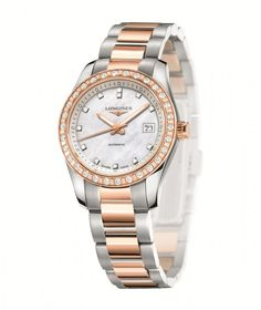 Longines Conquest Classic ladies' model set with 12 diamonds on the dial and 30 more on the bezel.