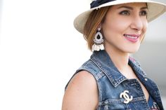 Blame it on Mei, @blameitonmei, Miami Fashion Blogger, Summer Maxi Dress with denim vest, YSL monogram crossbody in hot pink fuchsia, Panama hat, Stuart Weitzman wedge sandal, Chanel brooch