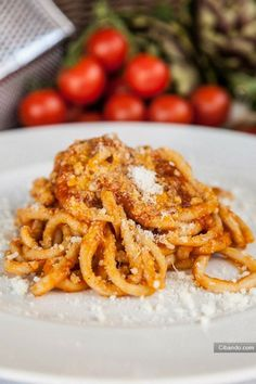 bucatini all'amatriciana. I am so happy I found this. Amatriciana was my favorite pasta in all of Italy.