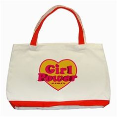 Girl Power Heart Shaped Typographic Design Quote Classic Tote Bag (Red) by dflcprints
