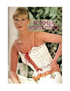 Digital Download Vintage Crocheted Flounced Peplum Camisole Top PDF Pattern by harmonycollectibles