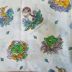 Vtg-1997-Licensed-THE-LAND-BEFORE-TIME-Collection-Twin-Sheet-Set-Fabric-Dinosaur