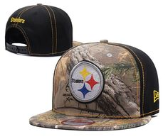 Men's Pittsburgh Steelers Mid & Rear Panels RealTree Camo NFL Team Logo Snapback Hat - Camo / Black