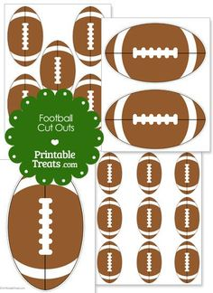 It's football season! Get these printable football cut outs you can decorate cheer posters and scrapbook pages with. These printable football cut outs are brown with white accent. Football Banquet, Football Cheer, Football Tailgate, Football Snacks, Football Birthday, Youth Football, Tailgating, Football Season, Football Moms