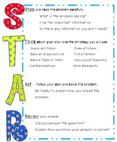 Your kids will soon become STAR problem solvers as they learn how to think about word problems. This 23 page packet will help you teach your students how to Stop, Think, Act and Review, the 4 basic steps to solving any word problem. The STAR Thinking Sheet will guide students through the four steps as they solve word problems. 40 practice problems that cover eight different strategies (5 problems for each) is also included.