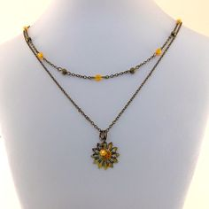 Rustic Enameled Flower And Orange Double by CinLynnBoutique