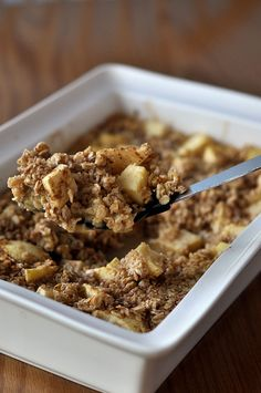 Baked Oatmeal - I used steel cut oats, almond milk, added flax seed, apples, and dried cranberries, baked about 10 min longer b/c of the oats I used...and...AHHH-MAZING!