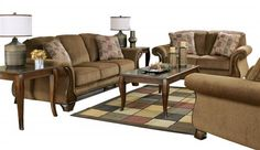 Montgomery Traditional Mocha Fabric Living Room Set