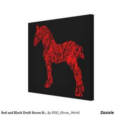 Red and Black Draft Horse Silhouette Canvas Print