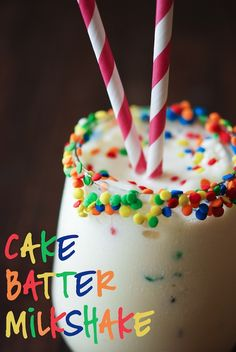 Cake Batter Milkshake!!! Ingredients: 4 large scoops Vanilla ice cream 1/2 cup yellow cake mix splash of milk sprinkles for garnish directions: In a blender, combine all ingredients (except for sprinkles). Blend until well combined, serve immediately. For sprinkle edges: rub a thin layer of corn syrup on the rim of your glass and dip in colorful sprinkles!