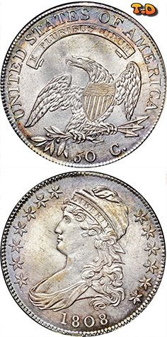 N T ½ Dollar Ced Bust Half Country United States Years 1807 1836 Value 1 2 50 Cents 0 Usd 44 Eur Metal Silver 892 Weight