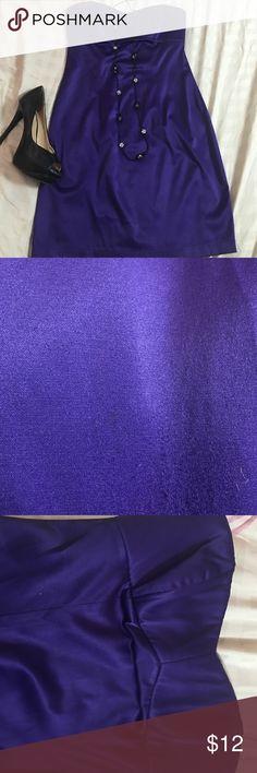 Dress True violet in color, 56% poly, 41% cotton, 3%spandex, sweatheart neckline and zip back. Dresses Mini