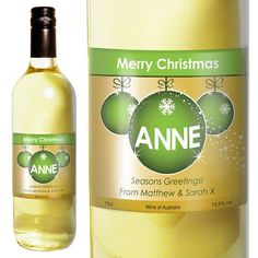 Personalised White Wine - Bauble Label  from Personalised Gifts Shop - ONLY £16.95