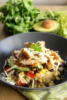 Honey Lime Chicken Bowls - make your own Chipotle bowls!