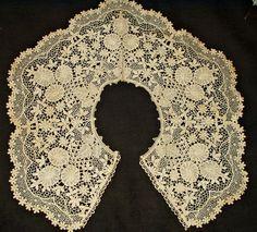 Antique Victorian Edwardian Schiffli Chemical Lace Dress Collar Floral Design