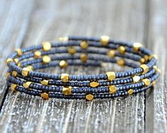 Dainty Frosted Denim Seed Bead and Gold Wrap Bracelet , Beaded Bracelet, Bangle
