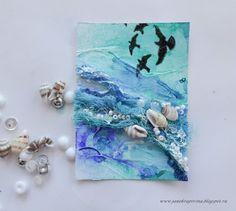 Морская тема: грунт+бинт+спреи+штампы+ракушки