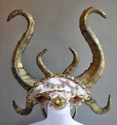 Horned Mythical Goddess God Warrior Headpiece, Greek, Horns, Burning Man Costume, Festival, Coachella, Halloween