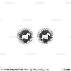 Black White Quatrefoil Cameo Scotties Earrings