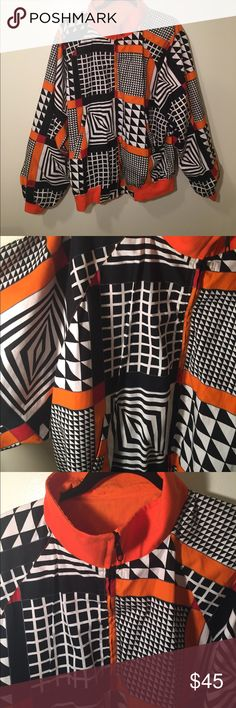 Retro Geometric Jacket This jacket is so fun. You can wear it oversized with skinnies and your favorite sneakers. Fits like a large.  No size or brand listed. No flaws. 💕 Unlisted Jackets & Coats