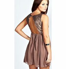boohoo Rosie Open Back Sequin Skater Dress - bronze Make your way stylishly through AW with an updated collection of going out dresses . Skaters and bodycons have been layered with lace, midis have been reworked with PU panelling and mesh inserts, maxi http://www.comparestoreprices.co.uk/dresses/boohoo-rosie-open-back-sequin-skater-dress--bronze.asp