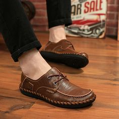 Men Casual Leather Outdoor Comfortable Flat Lace Up Round Toe Oxfords Shoes…