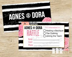 Agnes and Dora Small Business Raffle Ticket, Raffle Business Card, Agnes & Dora Rep Marketing Branding kit, best black stripe floral kate spade design on Etsy