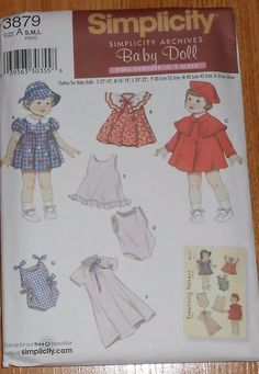 "Simplicity Sewing Pattern 3879  Doll Clothes S M L 12-22"" American Girl Uncut"