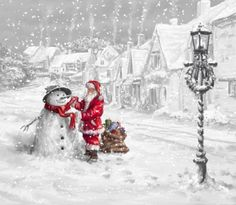 santa claus and snowman - snow, snowman, santa, claus, winter, xmas