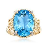 """""""9.00 Carat Blue Topaz Ring with Diamond Accents in 14kt Yellow Gold. Size 7"""": """"A dynamic 9.00… #Jewelry #ClearanceJewelry #DiscountJewelry"""