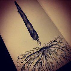 Fountain pen tattoo design