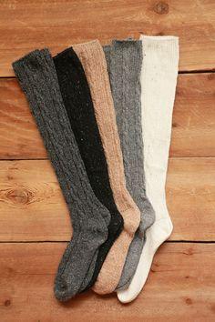 Wool Blend Cable Knit Knee High Socks - Beige, Black, Charcoal, Grey, Ivory