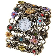 DBS Quartz Bangle Design Watch with Numerals Indicate Time Dial for Female (Colorful) in Women's Watches