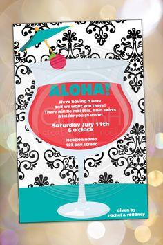 Aloha - 50 Tropical Daiquiri Luau Hula Shower Bridal Wedding Couple Cocktail Party Invitations - Custom Quantities Invite Frozen by CherishByNoel, $30.00