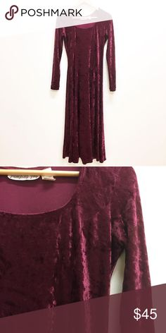 """Vintage 90s crushed velvet long sleeve maxi dress Legit 90s crushed velvet long sleeve long maxi dress. 50"""" long. Tagged L but at 18"""" pit to pit with plenty of stretch could fit S-L imo. Please use measurements. Excellent condition for age.  Beautiful merlot red wine maroon burgundy color Vintage Dresses Maxi"""