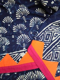 Beautiful Indigo Cotton Saree with Stitched Temple borders