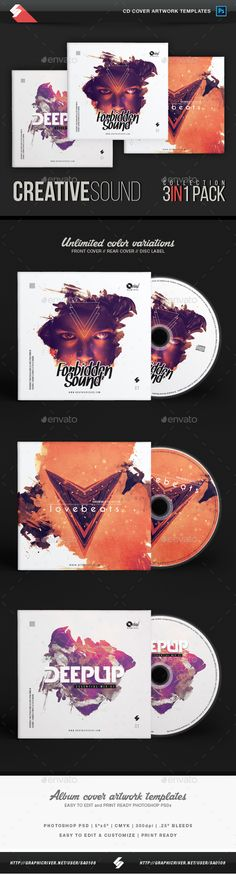 Creative Sound Collection - CD Cover Artwork Templates Bundle PSD. Download here: https://graphicriver.net/item/creative-sound-collection-cd-cover-artwork-templates-bundle/17621856?ref=ksioks
