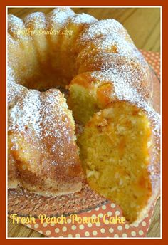 This Peach Pound Cake is amazingly moist, tender and bursting with sunshine flavor! It is award winning and you will love the fresh ingredients that make this special. It can be made with fresh or frozen peaches too. I have a secret to prepping the pan Bunt Cakes, Tea Cakes, Cupcake Cakes, Just Desserts, Delicious Desserts, Dessert Recipes, Desserts With Peaches, Recipes With Peaches, Summer Cake Recipes
